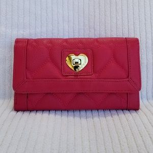 Betsey Johnson Trifold Wallet Pink Fushia EUC